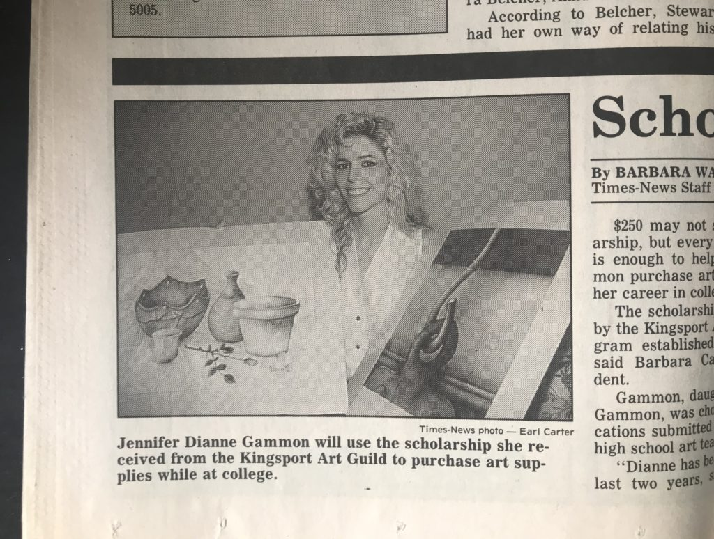 Blog header collage of J. Dianne Dotson (nee Gammon) from a 1992 Kingsport Times-News article, copyright 1992. Collage photo copyright J. Dianne Dotson 2020.